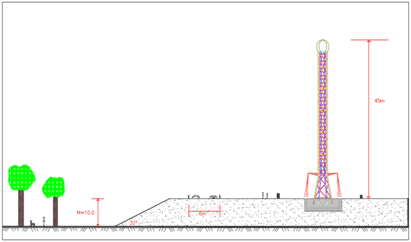 Geotechnical Design of a Star Flyer Tower (Six Flags) Projected Nearby a Slope