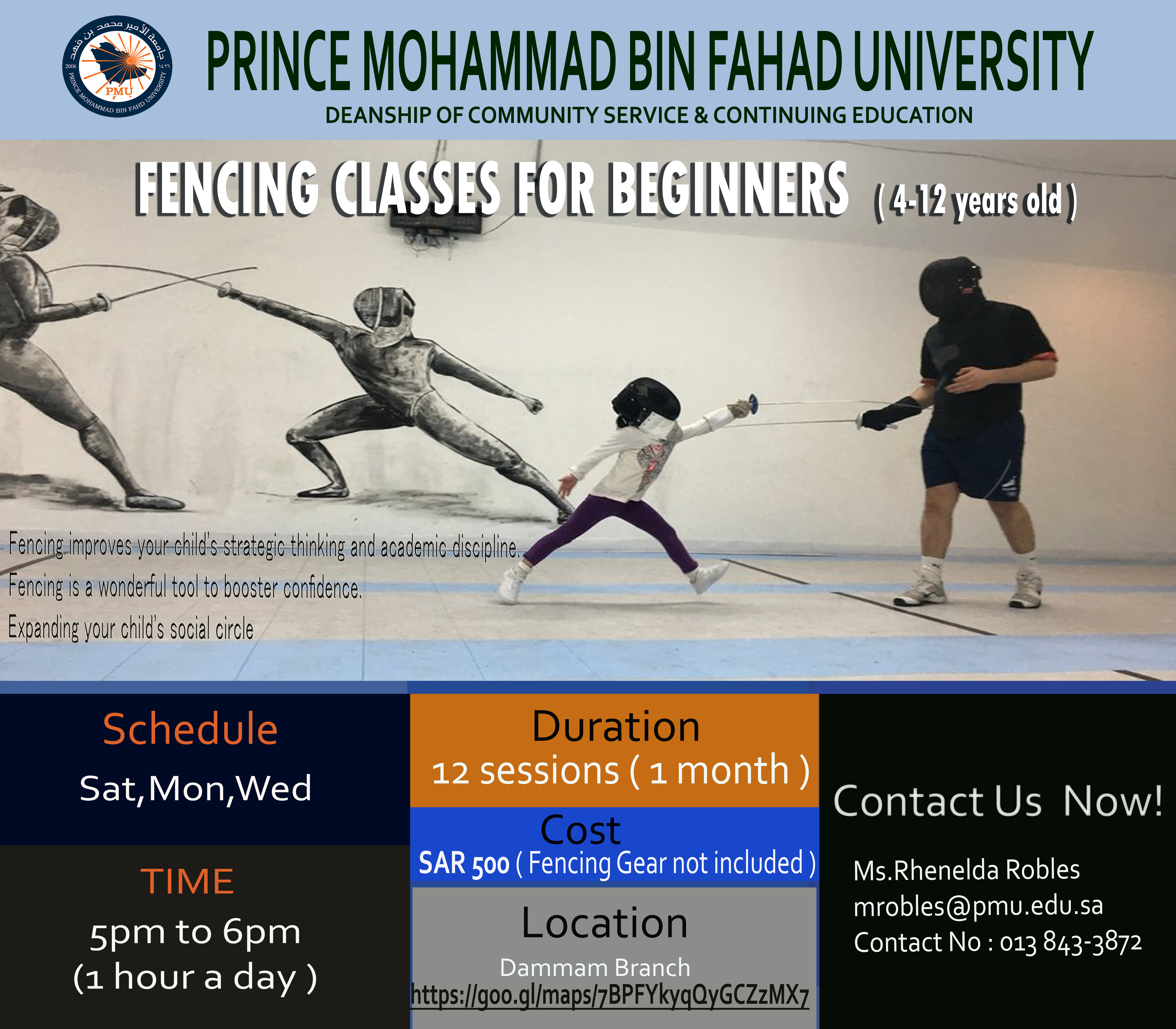 Fencing Classes for Beginners (4-12 years old)